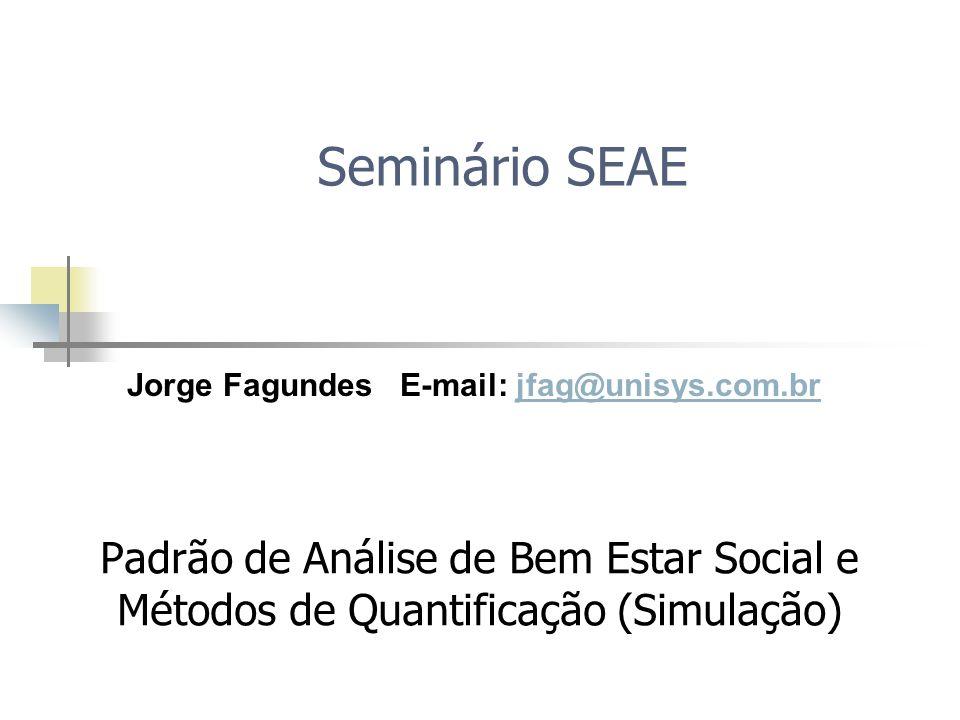 Seminário SEAE Padrão de Análise de Bem Estar Social e Métodos de Quantificação (Simulação) Jorge Fagundes E-mail: jfag@unisys.com.brjfag@unisys.com.br