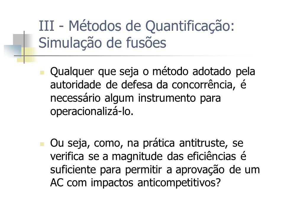 III - Métodos de Quantificação: Simulação de fusões Qualquer que seja o método adotado pela autoridade de defesa da concorrência, é necessário algum instrumento para operacionalizá-lo.