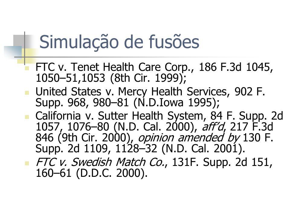 Simulação de fusões FTC v. Tenet Health Care Corp., 186 F.3d 1045, 1050–51,1053 (8th Cir.