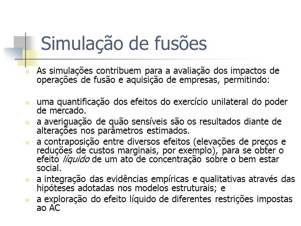Simulação de fusões As simulações contribuem para a avaliação dos impactos de operações de fusão e aquisição de empresas, permitindo: uma quantificação dos efeitos do exercício unilateral do poder de mercado.