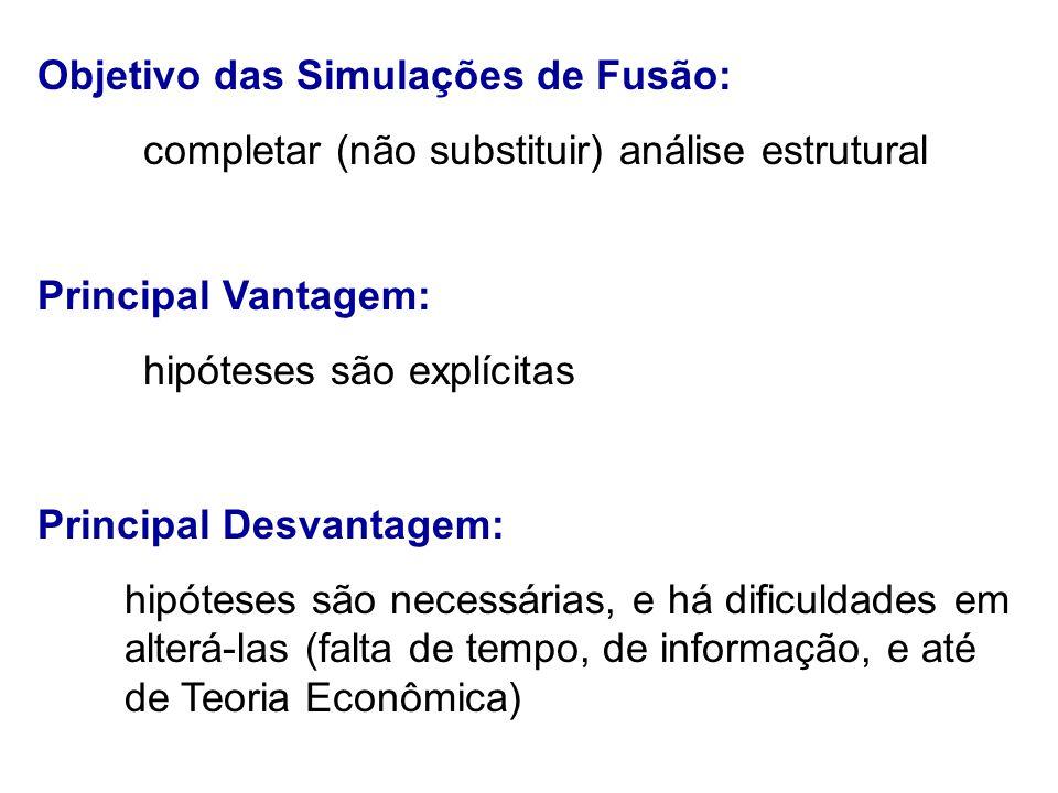Objetivo das Simulações de Fusão: completar (não substituir) análise estrutural Principal Vantagem: hipóteses são explícitas Principal Desvantagem: hipóteses são necessárias, e há dificuldades em alterá-las (falta de tempo, de informação, e até de Teoria Econômica)