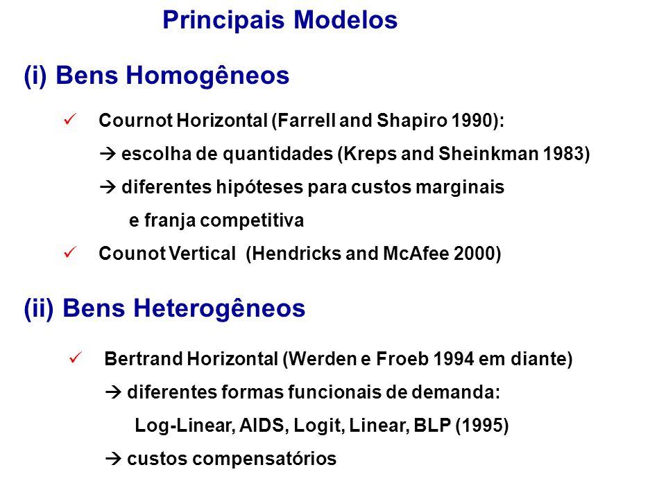 Principais Modelos Cournot Horizontal (Farrell and Shapiro 1990):  escolha de quantidades (Kreps and Sheinkman 1983)  diferentes hipóteses para custos marginais e franja competitiva Counot Vertical (Hendricks and McAfee 2000) Bertrand Horizontal (Werden e Froeb 1994 em diante)  diferentes formas funcionais de demanda: Log-Linear, AIDS, Logit, Linear, BLP (1995)  custos compensatórios (i) Bens Homogêneos (ii) Bens Heterogêneos