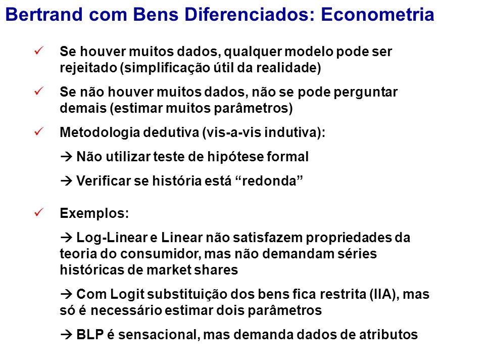 Exemplos:  Log-Linear e Linear não satisfazem propriedades da teoria do consumidor, mas não demandam séries históricas de market shares  Com Logit substituição dos bens fica restrita (IIA), mas só é necessário estimar dois parâmetros  BLP é sensacional, mas demanda dados de atributos Se houver muitos dados, qualquer modelo pode ser rejeitado (simplificação útil da realidade) Se não houver muitos dados, não se pode perguntar demais (estimar muitos parâmetros) Metodologia dedutiva (vis-a-vis indutiva):  Não utilizar teste de hipótese formal  Verificar se história está redonda Bertrand com Bens Diferenciados: Econometria