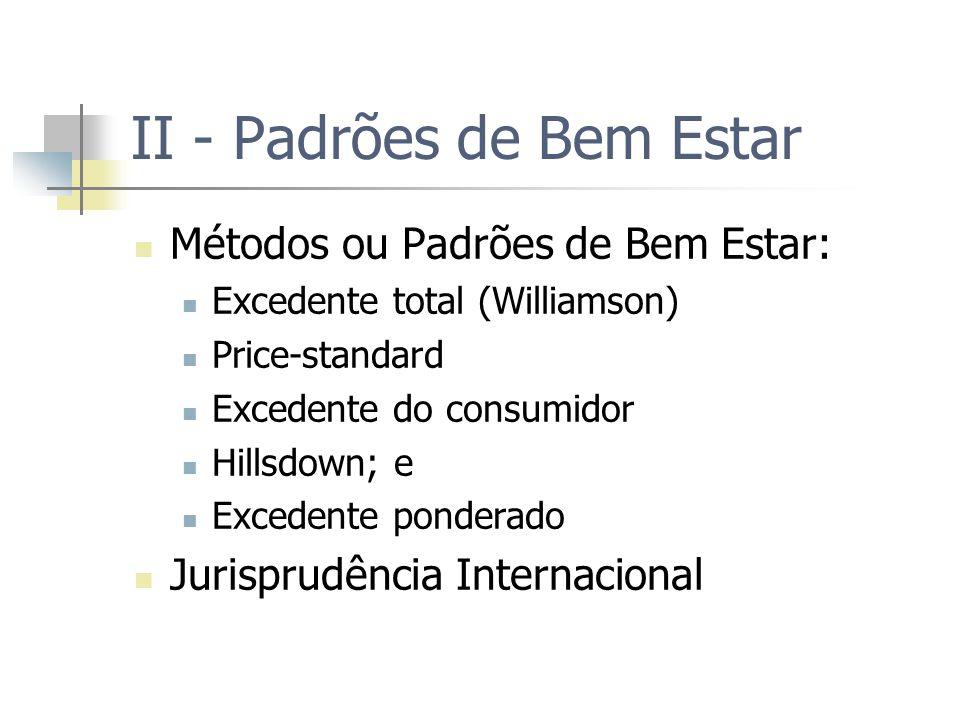 II - Padrões de Bem Estar Métodos ou Padrões de Bem Estar: Excedente total (Williamson) Price-standard Excedente do consumidor Hillsdown; e Excedente ponderado Jurisprudência Internacional