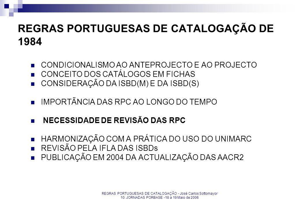 REGRAS PORTUGUESAS DE CATALOGAÇÃO - José Carlos Sottomayor 10. JORNADAS PORBASE -18 a 19 Maio de 2006 REGRAS PORTUGUESAS DE CATALOGAÇÃO DE 1984 CONDIC