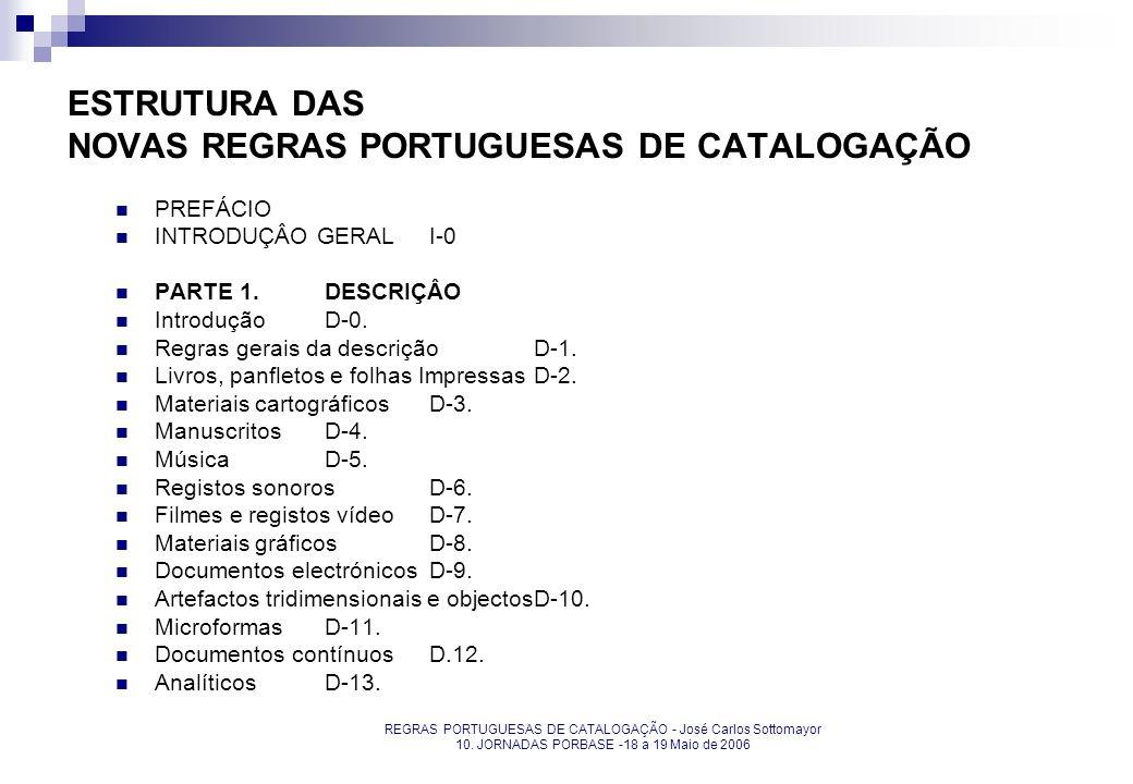 REGRAS PORTUGUESAS DE CATALOGAÇÃO - José Carlos Sottomayor 10. JORNADAS PORBASE -18 a 19 Maio de 2006 ESTRUTURA DAS NOVAS REGRAS PORTUGUESAS DE CATALO