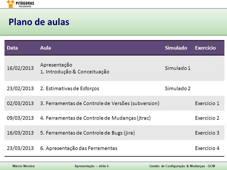 Márcio MoreiraApresentação – slide 6Gestão de Configuração & Mudanças - GCM Plano de aulas DataAulaSimuladoExercício 16/02/2013 Apresentação 1. Introd