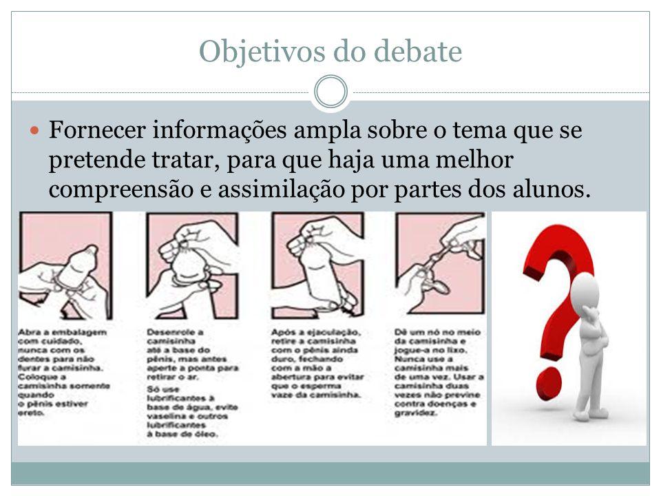 Objetivos do debate Fornecer informações ampla sobre o tema que se pretende tratar, para que haja uma melhor compreensão e assimilação por partes dos alunos.
