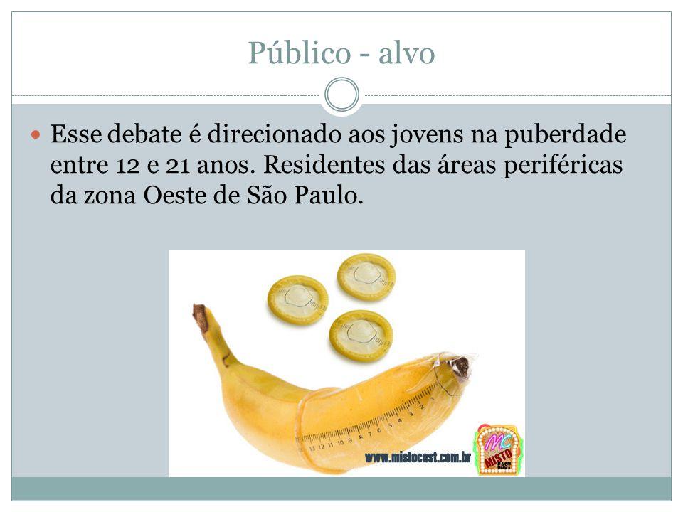 Público - alvo Esse debate é direcionado aos jovens na puberdade entre 12 e 21 anos. Residentes das áreas periféricas da zona Oeste de São Paulo.