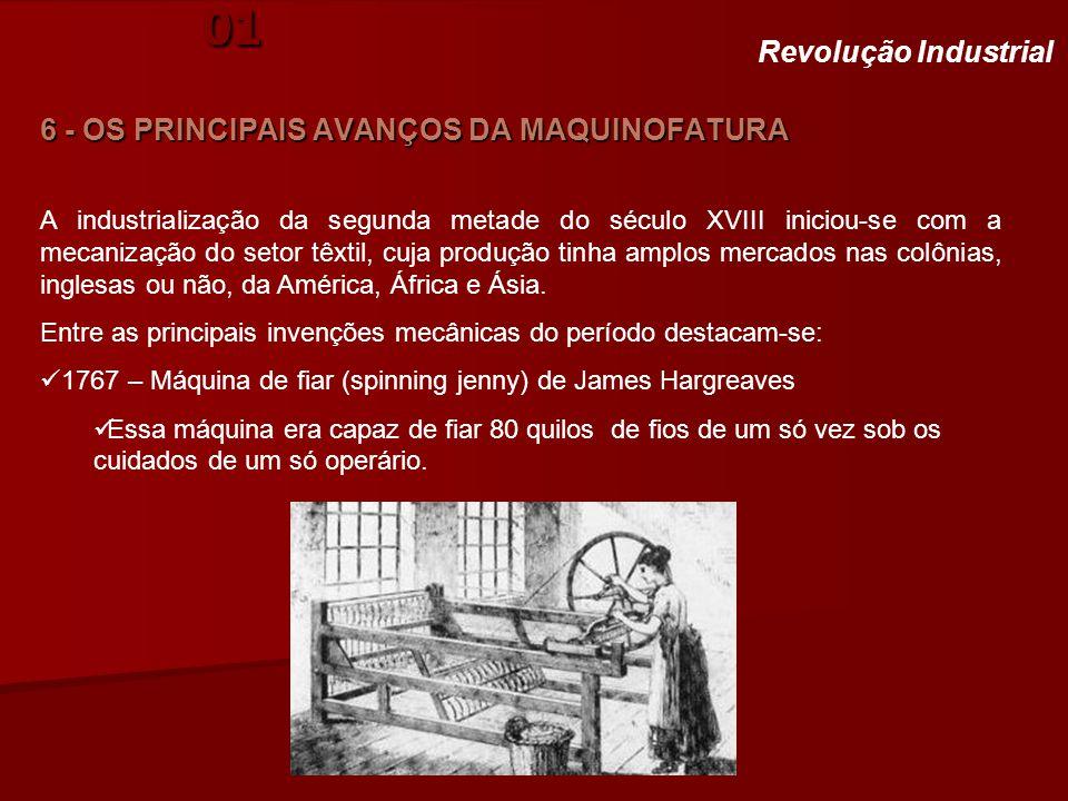 História. Aula 01 6 - OS PRINCIPAIS AVANÇOS DA MAQUINOFATURA Revolução Industrial A industrialização da segunda metade do século XVIII iniciou-se com
