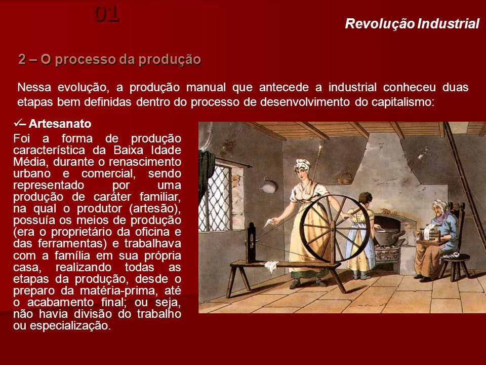História. Aula 01 2 – O processo da produção Revolução Industrial – Artesanato Foi a forma de produção característica da Baixa Idade Média, durante o