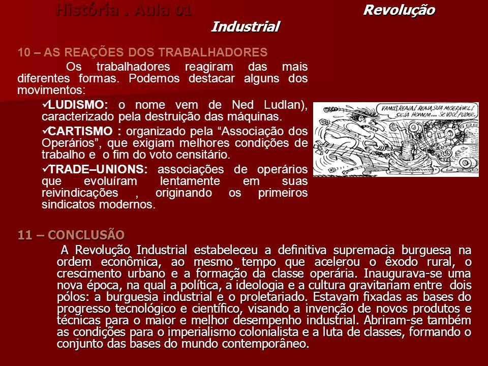 História. Aula 01 Revolução Industrial 11 – CONCLUSÃO A Revolução Industrial estabeleceu a definitiva supremacia burguesa na ordem econômica, ao mesmo