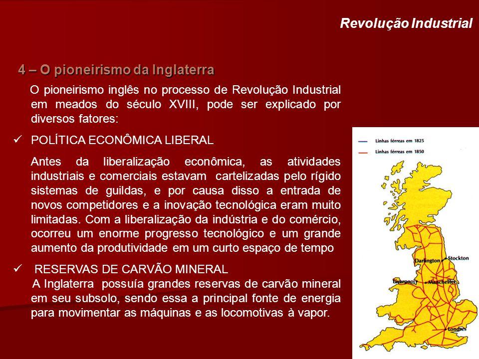 4 – O pioneirismo da Inglaterra Revolução Industrial O pioneirismo inglês no processo de Revolução Industrial em meados do século XVIII, pode ser expl