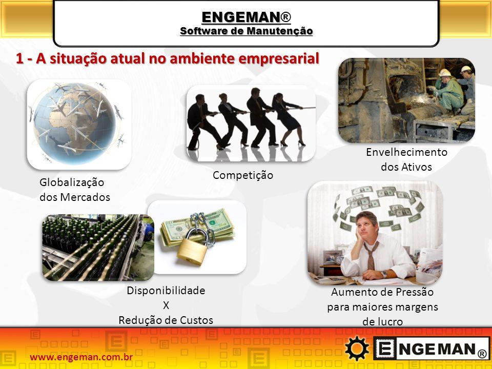 ENGEMAN Software de Manutenção ENGEMAN® Software de Manutenção 1 - A situação atual no ambiente empresarial Globalização dos Mercados Competição Dispo