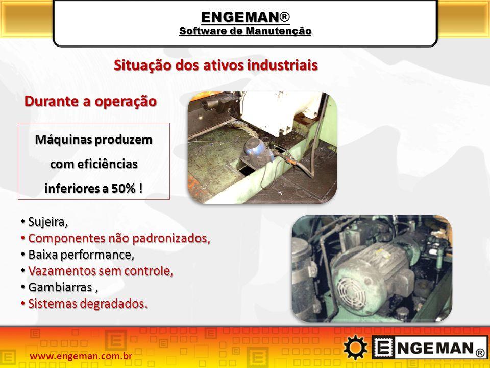 ENGEMAN Software de Manutenção ENGEMAN® Software de Manutenção Durante a operação Máquinas produzem com eficiências inferiores a 50% ! Sujeira, Sujeir
