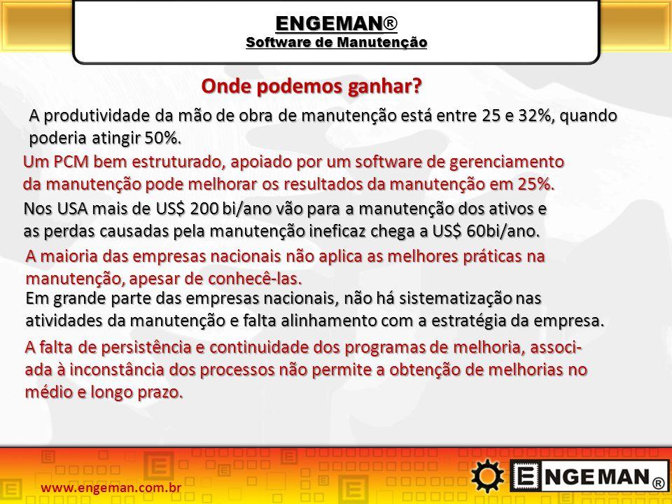 ENGEMAN Software de Manutenção ENGEMAN® Software de Manutenção A produtividade da mão de obra de manutenção está entre 25 e 32%, quando poderia atingir 50%.