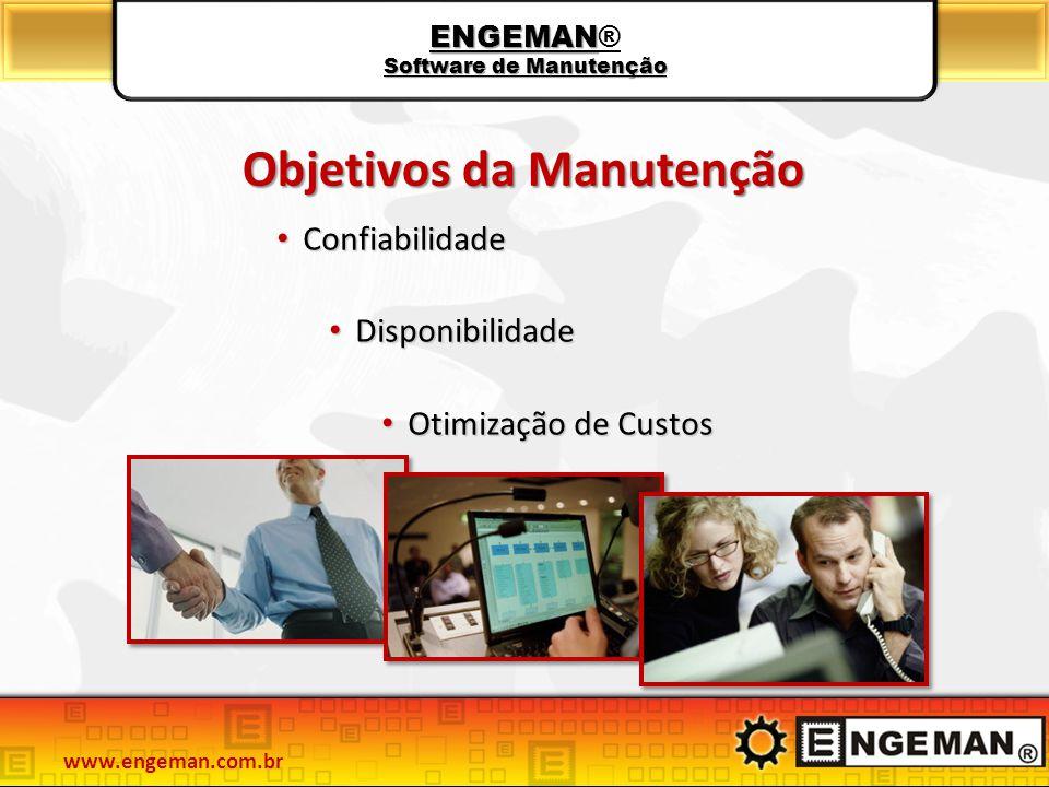 Objetivos da Manutenção Confiabilidade Confiabilidade Disponibilidade Disponibilidade Otimização de Custos Otimização de Custos ENGEMAN Software de Ma