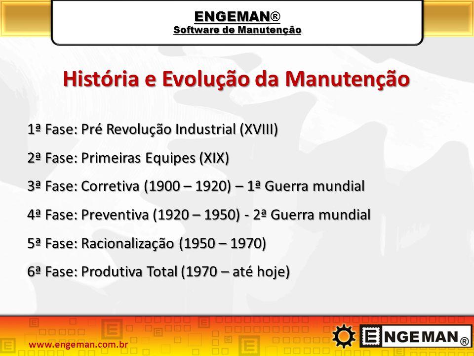 ENGEMAN Software de Manutenção ENGEMAN® Software de Manutenção História e Evolução da Manutenção 1ª Fase: Pré Revolução Industrial (XVIII) 2ª Fase: Pr