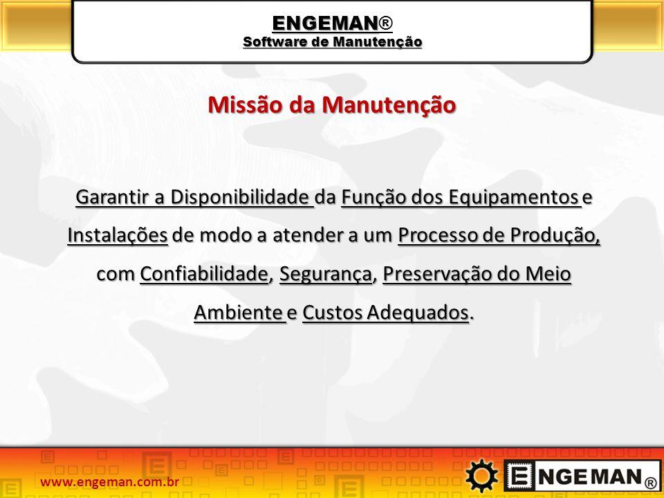 Garantir a Disponibilidade da Função dos Equipamentos e Instalações de modo a atender a um Processo de Produção, com Confiabilidade, Segurança, Preser