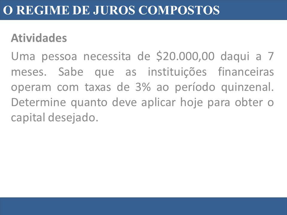 O REGIME DE JUROS COMPOSTOS Atividades Uma pessoa necessita de $20.000,00 daqui a 7 meses. Sabe que as instituições financeiras operam com taxas de 3%