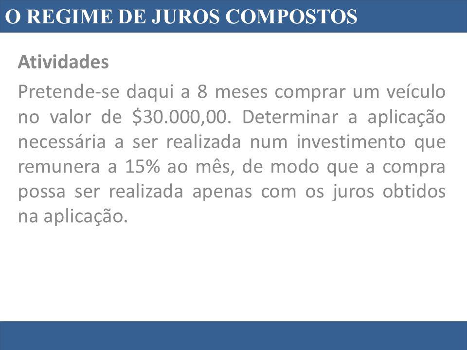 O REGIME DE JUROS COMPOSTOS Atividades Pretende-se daqui a 8 meses comprar um veículo no valor de $30.000,00. Determinar a aplicação necessária a ser