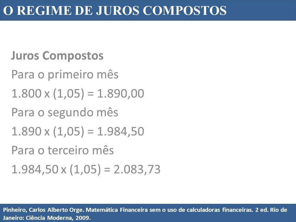 Juros Compostos Para o primeiro mês 1.800 x (1,05) = 1.890,00 Para o segundo mês 1.890 x (1,05) = 1.984,50 Para o terceiro mês 1.984,50 x (1,05) = 2.0