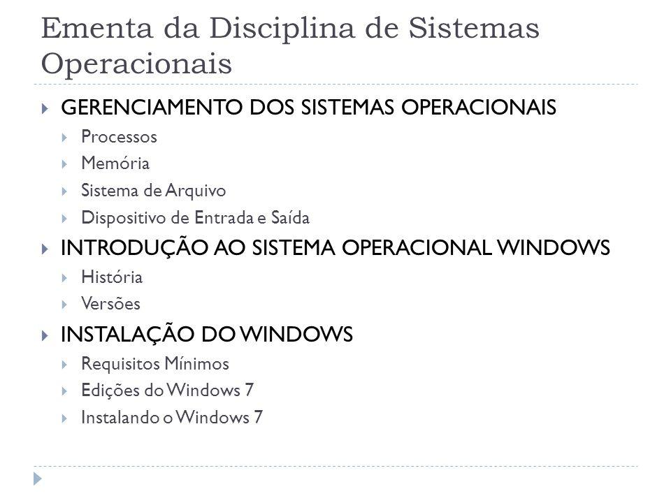 Ementa da Disciplina de Sistemas Operacionais  GERENCIAMENTO DOS SISTEMAS OPERACIONAIS  Processos  Memória  Sistema de Arquivo  Dispositivo de En