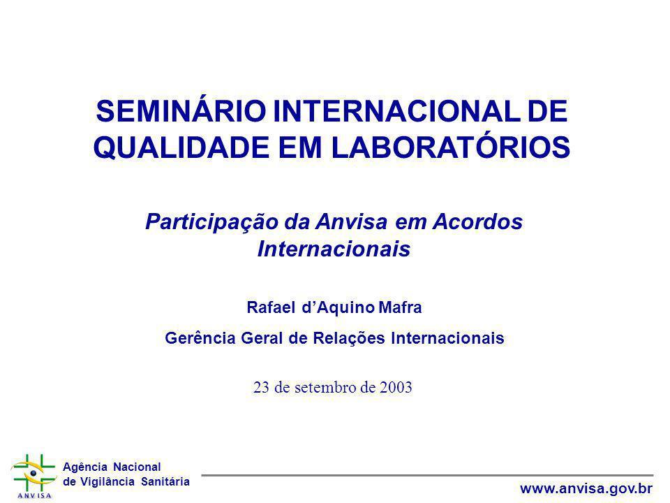 Agência Nacional de Vigilância Sanitária www.anvisa.gov.br PRINCÍPIOS: Transparência Tratamento nacional Fundamentação cientifica Medidas Sanitárias e Fitossanitárias