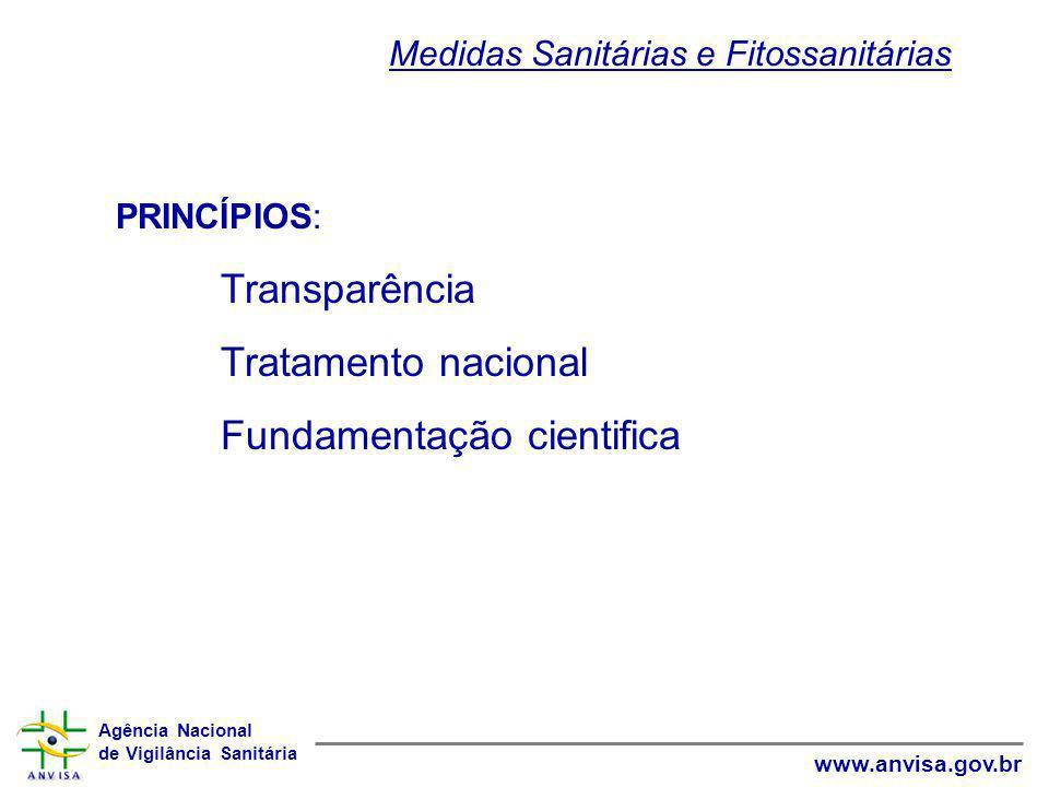 Agência Nacional de Vigilância Sanitária www.anvisa.gov.br PRINCÍPIOS: Transparência Tratamento nacional Fundamentação cientifica Medidas Sanitárias e