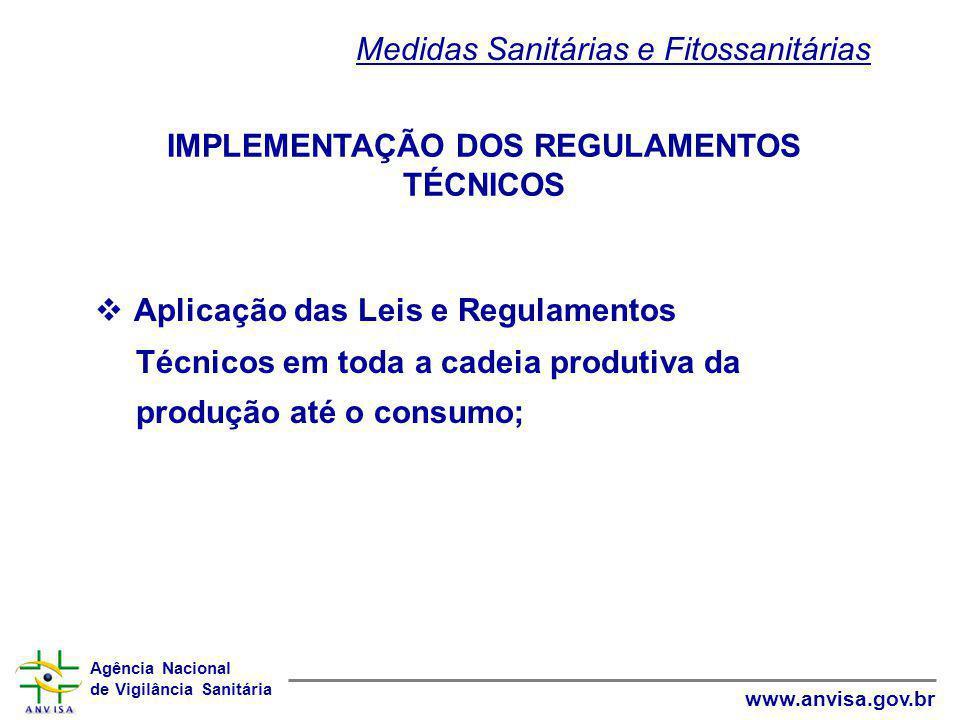 Agência Nacional de Vigilância Sanitária www.anvisa.gov.br IMPLEMENTAÇÃO DOS REGULAMENTOS TÉCNICOS  Aplicação das Leis e Regulamentos Técnicos em tod