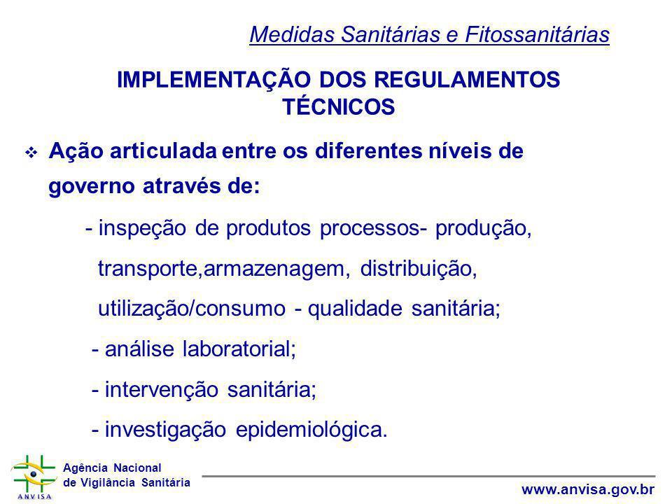 Agência Nacional de Vigilância Sanitária www.anvisa.gov.br  Ação articulada entre os diferentes níveis de governo através de: - inspeção de produtos