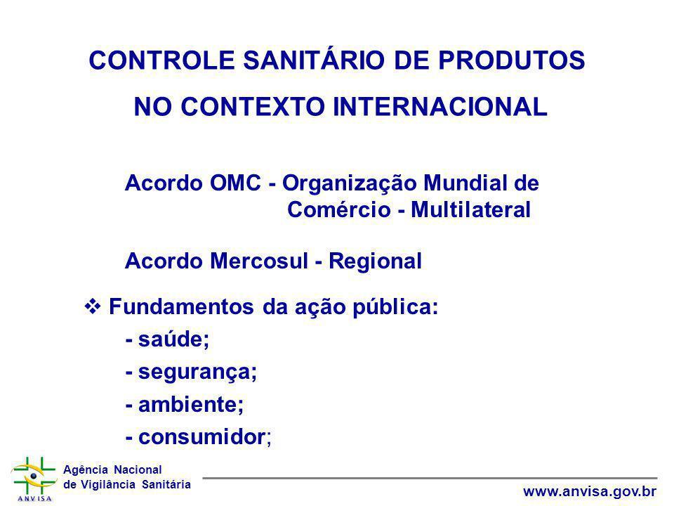 Agência Nacional de Vigilância Sanitária www.anvisa.gov.br OMC ORGANIZAÇÃO MUNDIAL DO COMÉRCIO LOCALIZAÇÃO: Genebra, Suíça CONSTITUIÇÃO: 1º Janeiro 1995 CRIAÇÃO: Rodada Uruguai (1986-94) PARTICIPANTES:146 países