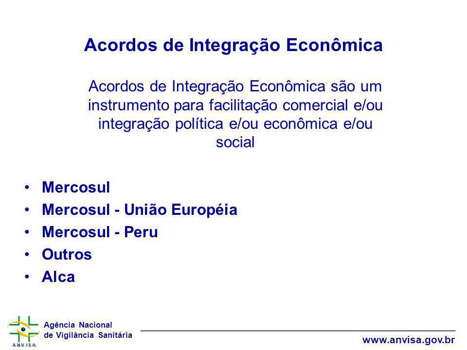 Agência Nacional de Vigilância Sanitária www.anvisa.gov.br Acordos de Integração Econômica Mercosul Mercosul - União Européia Mercosul - Peru Outros A