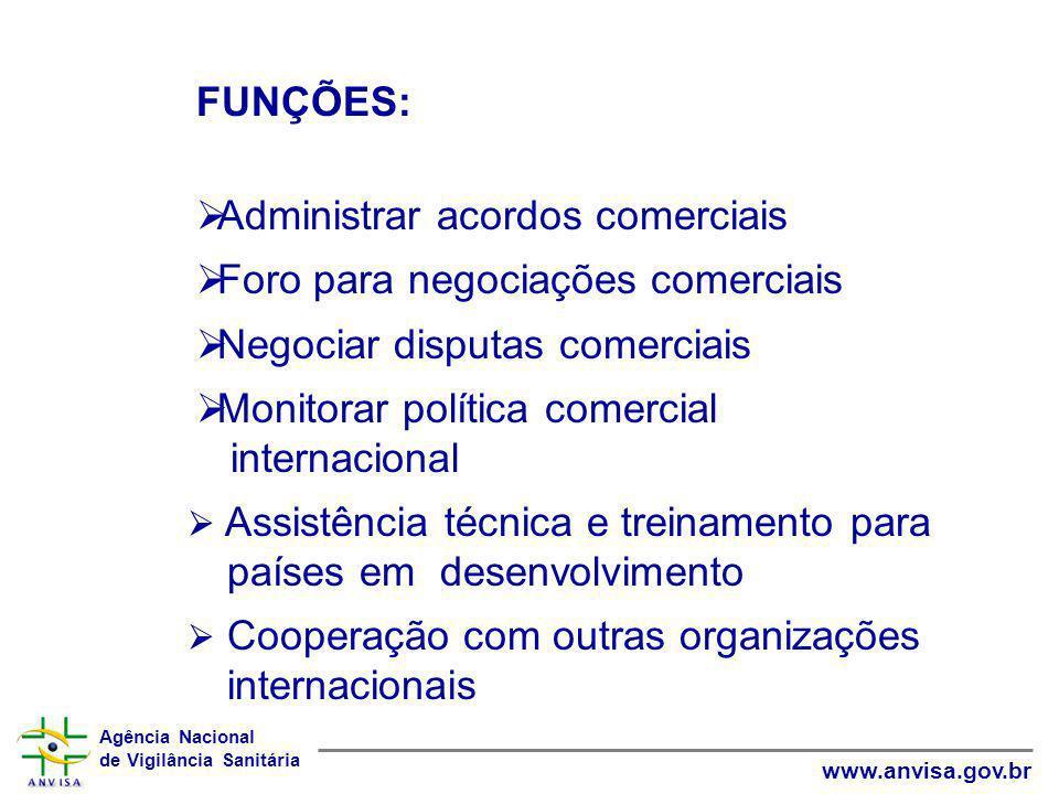 Agência Nacional de Vigilância Sanitária www.anvisa.gov.br FUNÇÕES:  Administrar acordos comerciais  Foro para negociações comerciais  Negociar dis