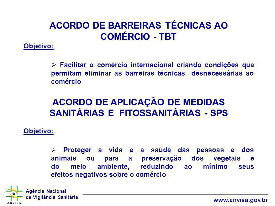 Agência Nacional de Vigilância Sanitária www.anvisa.gov.br ACORDO DE BARREIRAS TÉCNICAS AO COMÉRCIO - TBT Objetivo:  Facilitar o comércio internacion