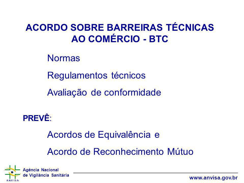 Agência Nacional de Vigilância Sanitária www.anvisa.gov.br ACORDO SOBRE BARREIRAS TÉCNICAS AO COMÉRCIO - BTC Normas Regulamentos técnicos Avaliação de