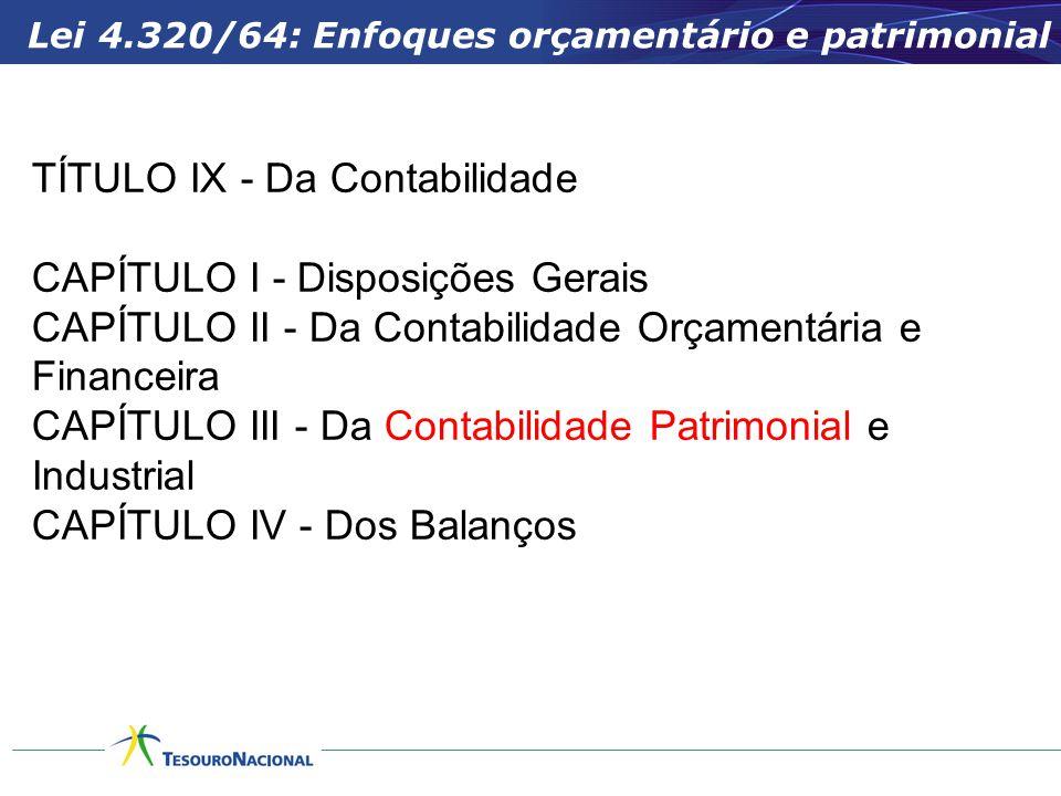 TÍTULO IX - Da Contabilidade CAPÍTULO I - Disposições Gerais CAPÍTULO II - Da Contabilidade Orçamentária e Financeira CAPÍTULO III - Da Contabilidade Patrimonial e Industrial CAPÍTULO IV - Dos Balanços Lei 4.320/64: Enfoques orçamentário e patrimonial