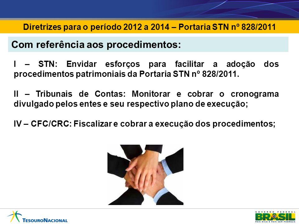 Diretrizes para o período 2012 a 2014 – Portaria STN nº 828/2011 I – STN: Envidar esforços para facilitar a adoção dos procedimentos patrimoniais da Portaria STN nº 828/2011.