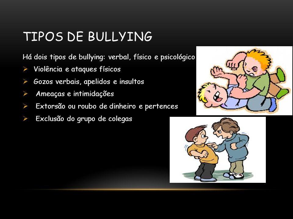 TIPOS DE BULLYING Há dois tipos de bullying: verbal, físico e psicológico  Violência e ataques físicos  Gozos verbais, apelidos e insultos  Ameaças e intimidações  Extorsão ou roubo de dinheiro e pertences  Exclusão do grupo de colegas