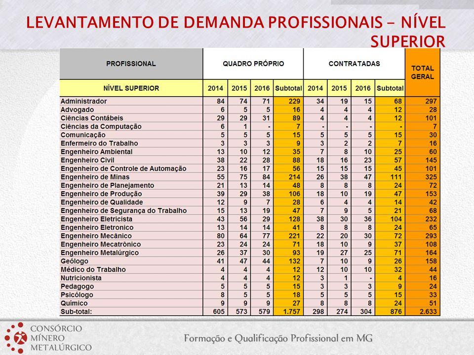 LEVANTAMENTO DE DEMANDA PROFISSIONAIS - NÍVEL SUPERIOR