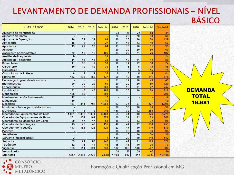 LEVANTAMENTO DE DEMANDA PROFISSIONAIS - NÍVEL BÁSICO DEMANDA TOTAL 16.681