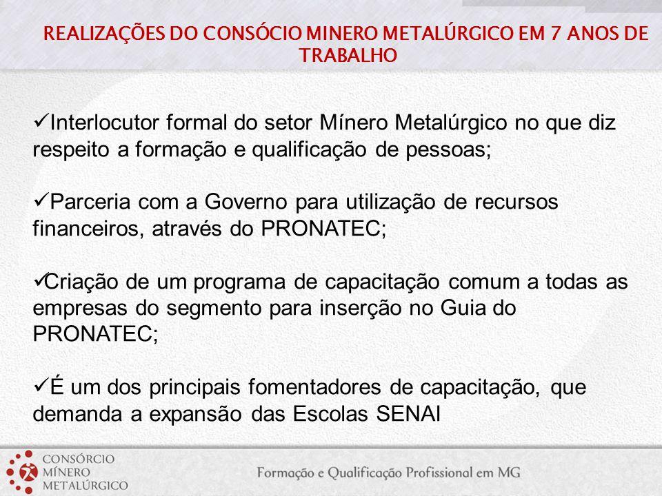 Interlocutor formal do setor Mínero Metalúrgico no que diz respeito a formação e qualificação de pessoas; Parceria com a Governo para utilização de re