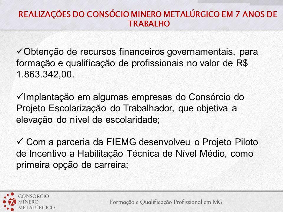 Obtenção de recursos financeiros governamentais, para formação e qualificação de profissionais no valor de R$ 1.863.342,00. Implantação em algumas emp