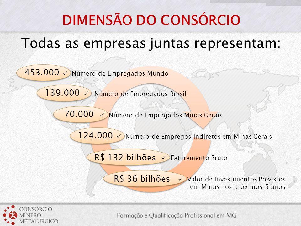 DIMENSÃO DO CONSÓRCIO Todas as empresas juntas representam: 453.000 Número de Empregados Mundo 139.000 Número de Empregados Brasil 70.000 Número de Em