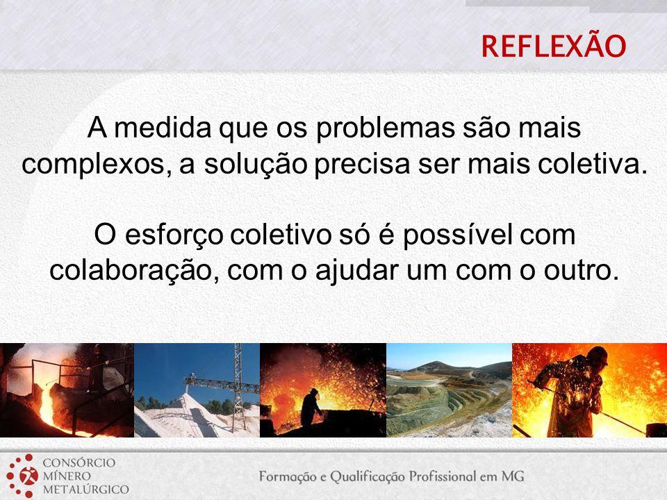 REFLEXÃO A medida que os problemas são mais complexos, a solução precisa ser mais coletiva. O esforço coletivo só é possível com colaboração, com o aj