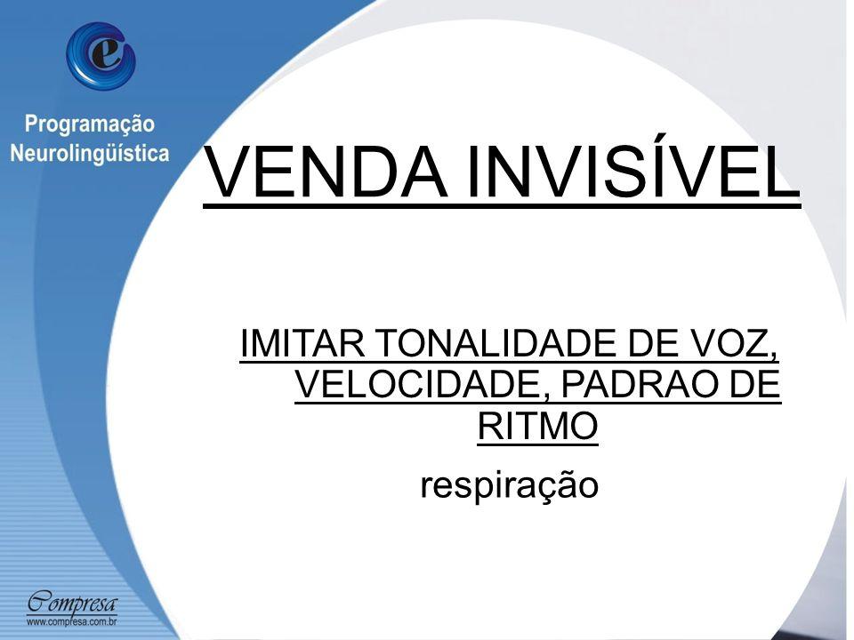 IMITAR TONALIDADE DE VOZ, VELOCIDADE, PADRAO DE RITMO respiração VENDA INVISÍVEL
