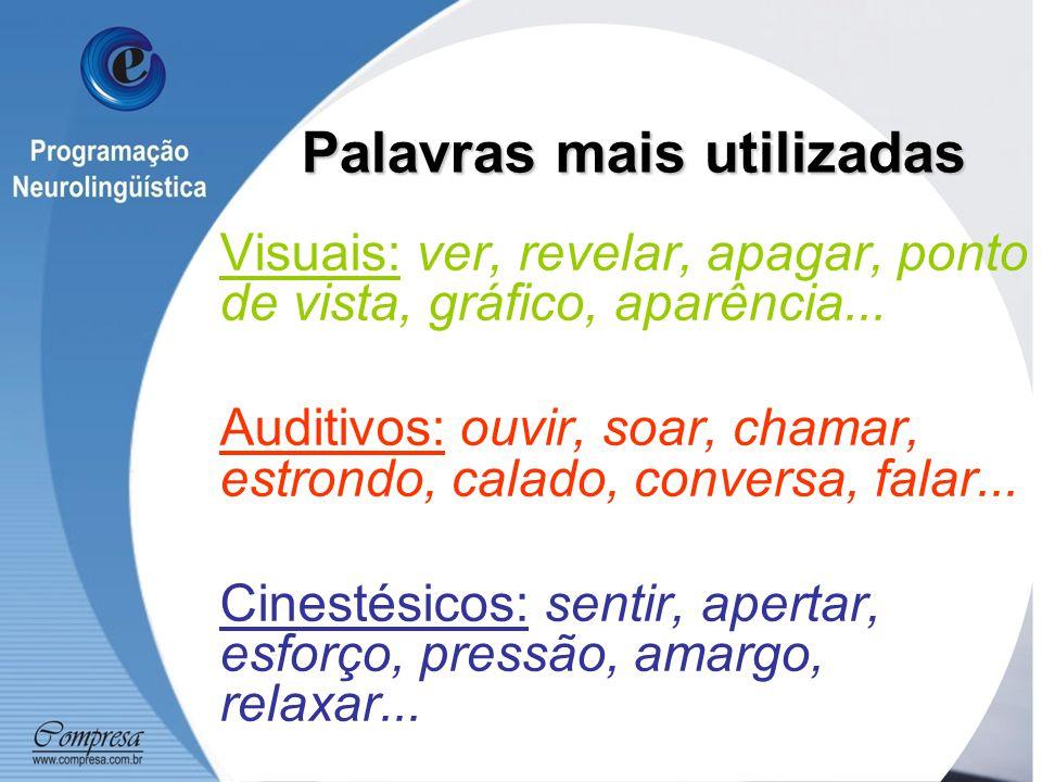 Palavras mais utilizadas Visuais: ver, revelar, apagar, ponto de vista, gráfico, aparência...