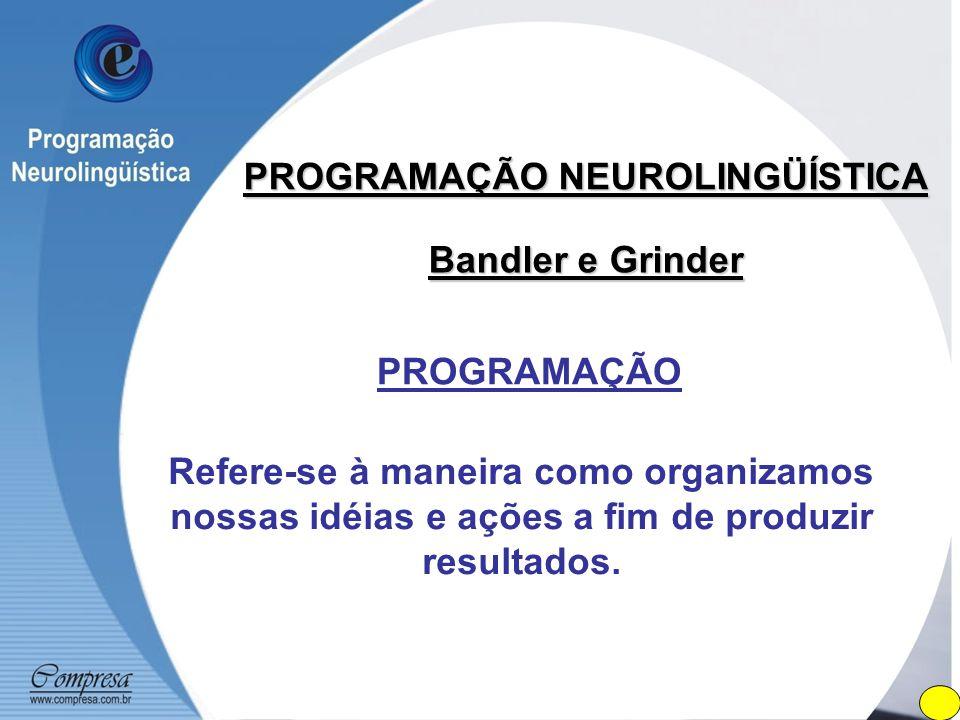 PROGRAMAÇÃO NEUROLINGÜÍSTICA Bandler e Grinder PROGRAMAÇÃO Refere-se à maneira como organizamos nossas idéias e ações a fim de produzir resultados.
