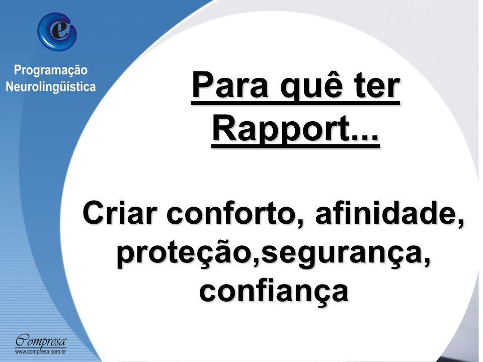 Para quê ter Rapport... Criar conforto, afinidade, proteção,segurança, confiança