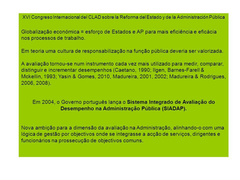 XVI Congreso Internacional del CLAD sobre la Reforma del Estado y de la Administración Pública Globalização económica = esforço de Estados e AP para mais eficiência e eficácia nos processos de trabalho.